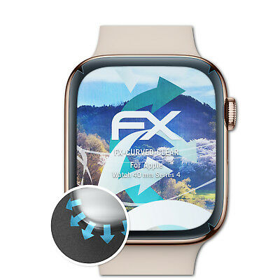 atFoliX 3x Schutzfolie Apple Watch 40 mm Series 4 Displayfolie FX-Curved-Clear