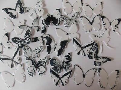 30 PRECUT Edible White Mix Butterfly wafer/rice paper cake/cupcake toppers