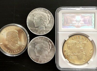 2 1964 PEACE DOLLARS PLUS 2  24K GOLD PLATED NOVELTY COINS. $14 Or B.O