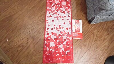 """Tapestry Valentine Table Runner, 13"""" X 36"""", Has White Fabric On The Back,"""