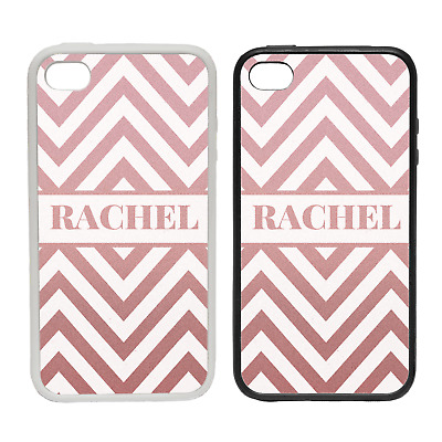 Personalised Cheveron Pattern- Rubber Or Plastic Clip Phone Case #2 -Custom Name