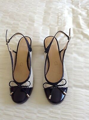 Ladies Caprice Navy And White Shoes Size 6 Sling Backs,small Heel ,worn Once