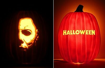 """HALLOWEEN - Michael Myers / Title (Double-Sided Hand-Carved Foam Pumpkin 12"""")"""