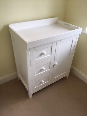 Chest of drawers with baby changing top, white colour, flat pack, Kiddicare.