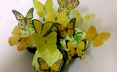24 Small Precut Edible Yellow Mix Butterflies for cakes and cupcake toppers