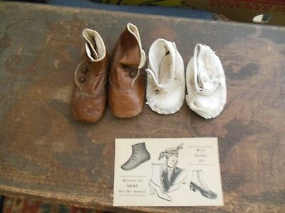 Antique Vintage Baby Shoes  With Advertising Card