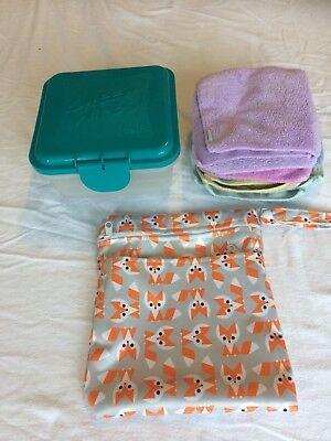 Cheeky Wipes Kit. 25 microfibre Cheeky Wipes, Fresh Box, Double Wetbag