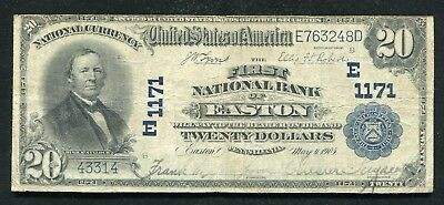 1902 $20 The First National Bank Of Easton, Pa National Currency Ch. #1171