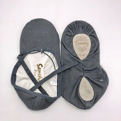 Ballet Slippers Sansha Pro 1 Canvas Split Sole Dark Gray Soft Shoes Adult