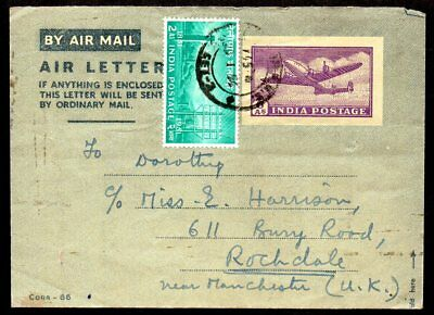 India -1954 Airmail Cover to Rochdale