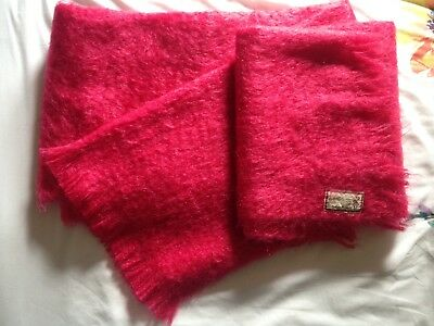 Andrew Stewart Mohair and Wool Vintage Pink Winter Scarf Shawl Made in Scotland
