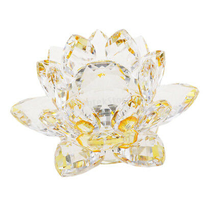 Crystal Lotus Ornament Crafts Paperweight Glass Model Wedding Gift Yellow