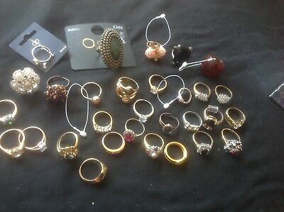 Job Lot Bundle Of Vintage & Modern Rings Costume Jewellery