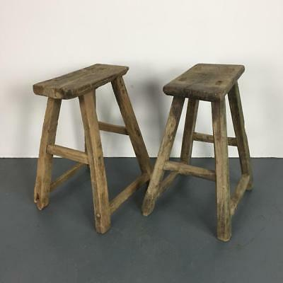 Pair Of Vintage Rustic Antique Wooden Stools Milking Large P216