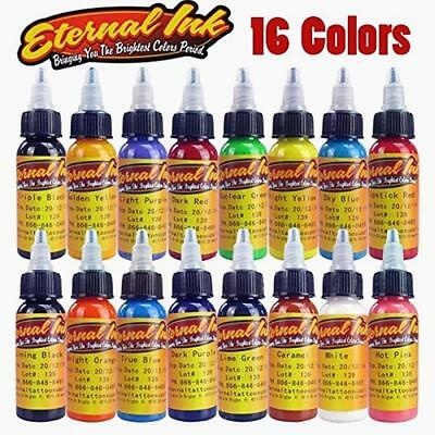 16PCS Tattoo Ink Set Permanent Makeup Body Art Skin Pigment Cosmetic Paint Kit