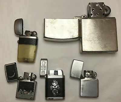 Vintage Lot of 5 Lighters Zippo Scripto Snap
