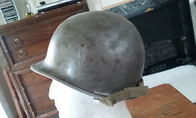 WW2 American Army Front Seam Fixed Bail Steel Helmet with liner