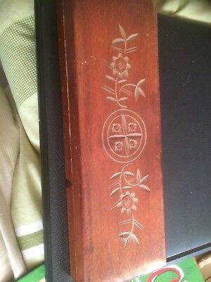 "Xmas Gift Antique/Vintage Chinese Wooden with Paint Brushes 9""x 3"" X1.25"" A/F"