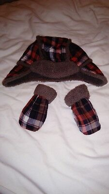 Baby boys 3-6 month hat & mittens gloves set red brown checked pattern