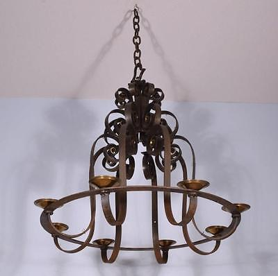 """Large (32"""" diameter) Antique French Wrought Iron Chandelier/Hanging Lamp"""