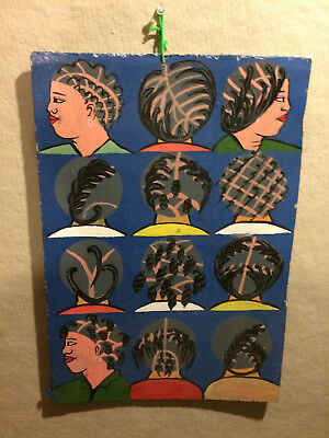 "African art, painted hair styles sign on wood from Ghana 17x12"" inches"