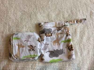 Cheeky Wipes - 8 Bamboo Minky Cloth Baby Wipes and Double Wet bag