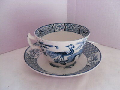 vintage Wood & Sons Yuan -Cup & Saucer  Blue and White EXOTIC BIRDS
