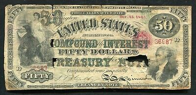 "FR. 192b 1864 $50 COMPOUND INTEREST TREASURY NOTE ""CONTEMPORARY FAUX"""