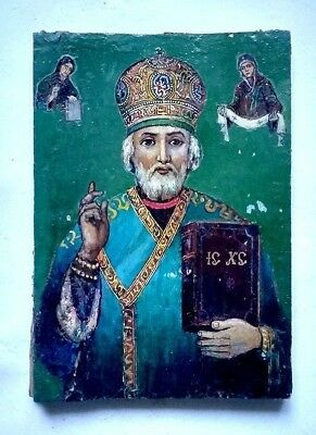 Old Orthodox Icon Saint Nicholas Wonderworker Russian Empire Hand Painted Board