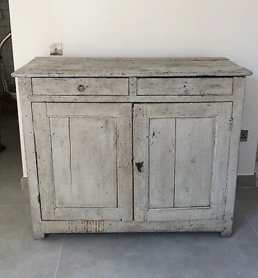 Vintage Antique Shabby Chic Distressed French Grey Unit Cabinet Cupboard