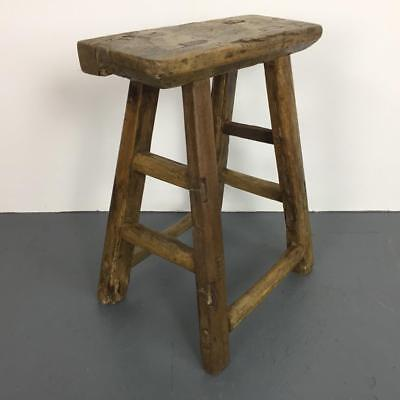 Vintage Rustic Antique Wooden Stool Milking Large Waxed W113
