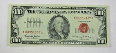 U.S. $100 Bill With Red Seal 1966 Extra Fine+ Great Color