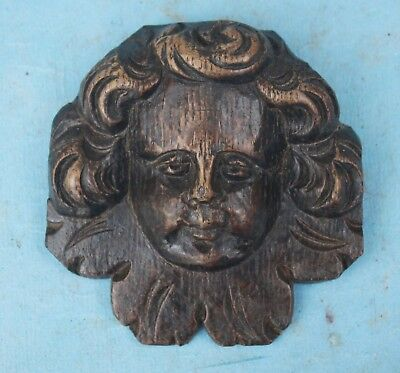 17th CENTURY CARVED OAK ANGEL HEAD Gothic Medieval oak carving