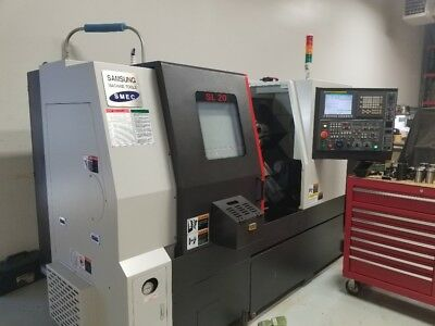 Used Samsung SL-20 CNC Turning Center 2 Axis Lathe Fanuc Tailstock Rigid Tap '16