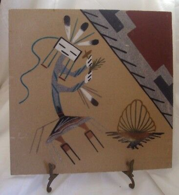 Native American Sand Art Navajo Painting Handcrafted Wall Hanging Signed 12 x 12