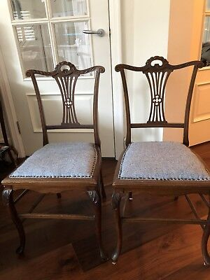 Pair Antique Edwardian Chairs Harris Tweed Covered Seats. COLLECTION ONLY SW18
