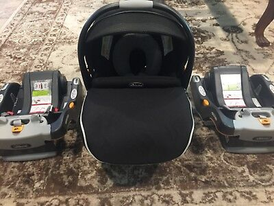 Chicco Keyfit 30 Zip Black Genesis Infant Carseat with Two Bases- Mint Condition