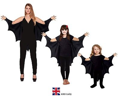 GOTHIC VAMPIRE BAT WINGS Costume Cape Fancy Dress Adult Kids Halloween Outfit UK