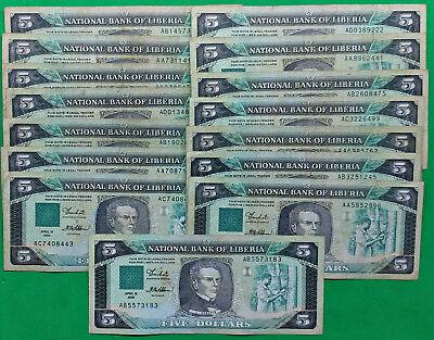 Lot of 15 Mixed Old National Bank of Liberia $5 Banknotes Africa !!