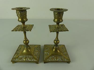 (REFCV)  Pair of vintage and unusual brass candlesticks