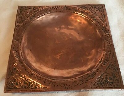 Arts & Crafts Newlyn Style Copper Coin Dish, Square Bowl, Decorative
