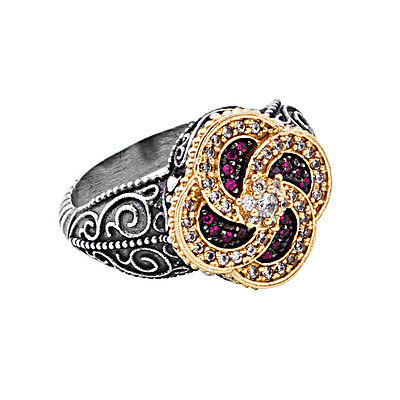 D312 - Sterling Silver Byzantine Cocktail Ring with Zircon