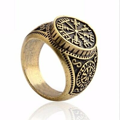 Runic Odin Symbol Norse Nordic Pirate Finger Ring Compass Viking Jewelry