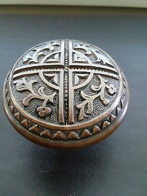 Antique Victorian Eastlake Bronze Brass Door Knob Rare 1885 - Flower H - 27800