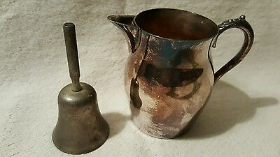 Silverplate Cream Pitcher And Metal Dinner Bell