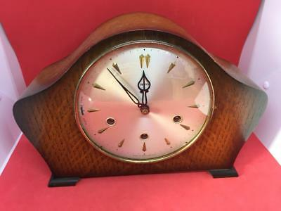 VINTAGE WOODEN SMITHS MANTLE CLOCK with SMITHS BRASS MOVEMENT