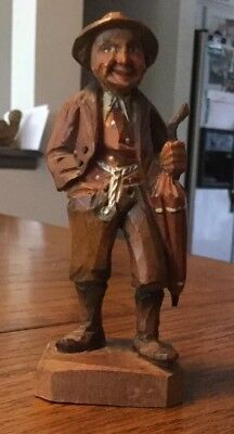 Vintage Anri Old Man Carved Figure Dressed In His Finest with Umbrella