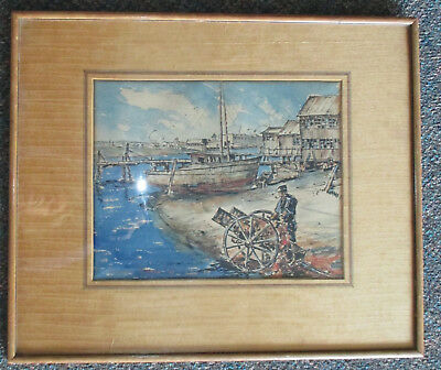 Stephen Seymour Thomas (1868-1956) Original Watercolor.Harbor Scene 1939