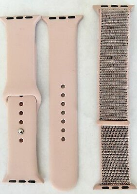 New 2 Pc Set 38Mm Apple Watch Band Soft Pink Silicone &fabric Wrist Strap Bands