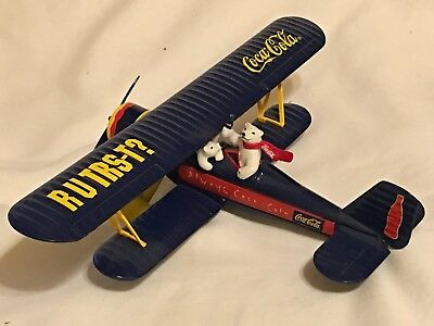 Coca Cola Die Cast Biplane Collectible Bank  With Coke Polar Bears - 1997